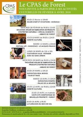 Affiche activités culturelles Fev april2018