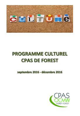 programme culturel septembr - décembre 2016